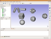 Screenshot of 'FreeCAD' parametric CAD program performing boolean operations on 3D shapes